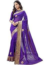 Pramukh Suppliers Cotton Silk Saree With Blouse Piece (D_Pbutta_Purple_Free Size)