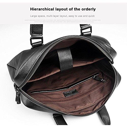 Yoome 14 Cartella da uomo in vera pelle per laptop borsa a tracolla Messenger Bag a tracolla - nero Nero