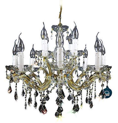 8 Light Halogen Kronleuchter (KRONLEUCHTER KRISTALL Lüster 8+4 Flammig Ø60cm gefertig aus SPECTRA CRYSTAL von SWAROVSKI Gold)