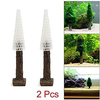 sourcingmap® 2Pcs Plastic Moss Christmas Tree Trunk Aquascape Ornament for Aquarium Fish Tank