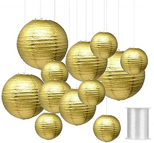 MEANTOBE Linternas Papel Redondas Oro Linternas Colgantes
