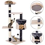 COSTWAY Cat Scratching Post, Multi-Level Tower Tree with Perches Platform and Condo Play