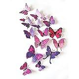 TININNA 12Pcs Stickers 3D Muraux de Papillons Mural Autocollants Bricolage Amovible Réutilisable Décoration pour Fammille et Chambre Violet