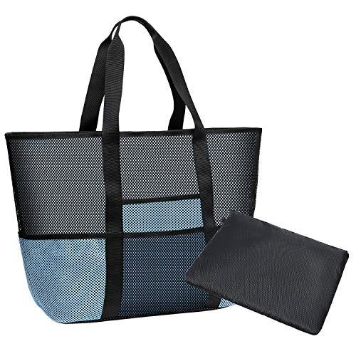 Coolty Große Netztasche für den Strand, Faltbar Strandtasche für Familie Urlaub Picknick Schwimmen Outdoor-Aktivitäten (Schwarz/Blau)