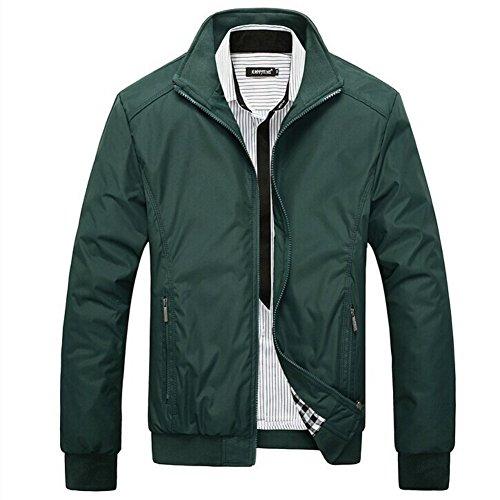 Yalatan Fashion Mens Casual Coat Warm Outerwear Autumn Winter Slim Collar Jackets Tops green