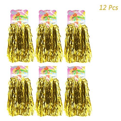 ng Pom Poms - Ultra Shining Pom Pom Cheerleader Puschel Tanzpuschel Party Sport Fußball Zubehör (Gold) ()