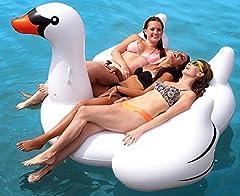 Idea Regalo - Beach Toy ® - Materasso gonfiabile, gonfiabile galleggiante gigante cigno bianco, adulti e bambini, 2-3 persone, taglia XXL: 190 x 190 x 130 cm, consegna rapida
