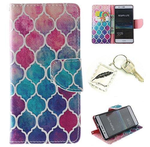 Preisvergleich Produktbild Silikonsoftshell PU Hülle für Huawei P9 Lite Tasche Schutz Hülle Case Cover Etui Strass Schutz schutzhülle Bumper Schale Silicone case+Exquisite key chain X1#AZ (1)