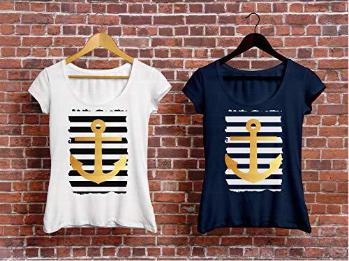 Maritimes Damen T-Shirt mit Anker Print - Damen Nautische Streifen-shirt