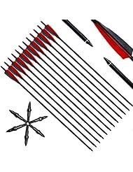 """Narchery Pfeile für Bogenschießen, 31 Zoll Bogenpfeile Carbon Pfeile mit 5"""" Rot und Schwarz Naturfeder, Jagdpfeile für Bogen, Langbogen, Recurvebogen und traditionellen Bogen"""