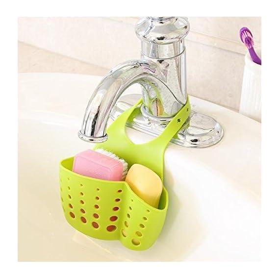 EKRON Kitchen Bathroom Sponge Soap Water Draining Hanging Holder Organizer for Faucet Sink Caddy Organizer Kitchen Accessories, Random colour