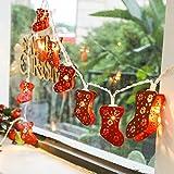 JUNMAONO 1 Satz LED Lichterkette 3m 20 Stück Lighter Weihnachtsbeleuchtung Rot Socken Schnur leuchtet dekorative Leuchten im Freien Weihnachtstag Laterne Schnurlicht,Plug-in-Stil