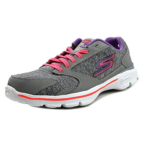 Skechers Go Walk 3-Statement Synthétique Chaussure de Marche Gray-Hot pink