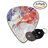 Bright Artistic Splashes Abstract Painting Color Texture Modern Futuristic Pattern Multicolor Colorful Celluloid Guitar Picks Plectrums For Guitar Bass .6 Pack 46mm