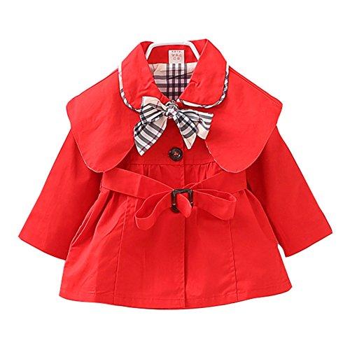 Süßer Mädchen Kids/ Teens Trenchcoat Mantel mit Gürtel Mantel Outerwear Rot/70cm (Trenchcoat Teen)