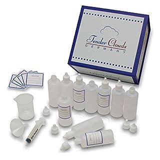 Die Liquid Cloud │Profi-Set zum selber Mischen von Flüssigkeiten mit robuster XXL Aufbewahrungsbox │10 x 100 ml Liquid Flasche, Etiketten, Messbecher, Trichter und Spritze│Von Tender Clouds