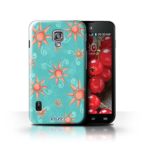 Kobalt® Imprimé Etui / Coque pour LG Optimus L7 II Dual / Jaune/Blanc conception / Série Motif Soleil Turquoise/Rouge