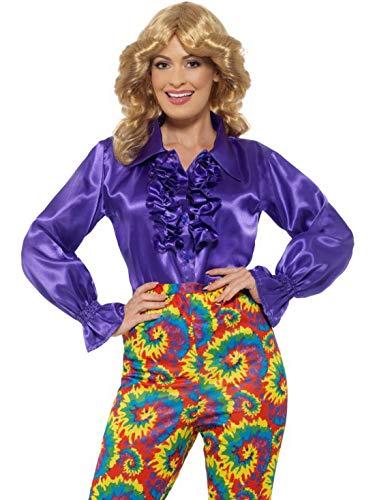 Halloweenia - Damen Frauen Satin Rüschen Bluse Kostüm im 70er Jahre Disko Stil, perfekt für Karneval, Fasching und Fastnacht, M, Lila (Frauen 70er-jahre-stil Für)