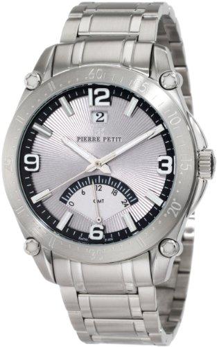 Pierre Petit P-806C - Reloj analógico de cuarzo para hombre con correa de acero inoxidable, color plateado