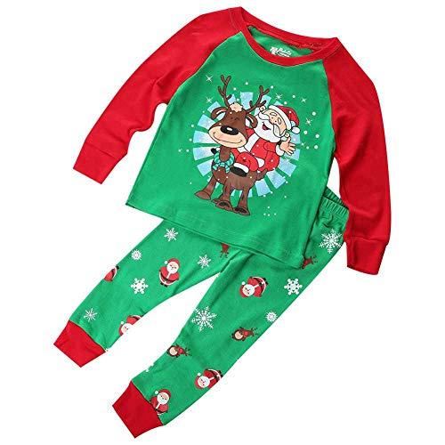 Weihnachten Kinder Kinder Jungen Pyjamas Set Baby Kind Grün Nachtwäsche Weihnachten Santas Kleidung Set 1-7Y -