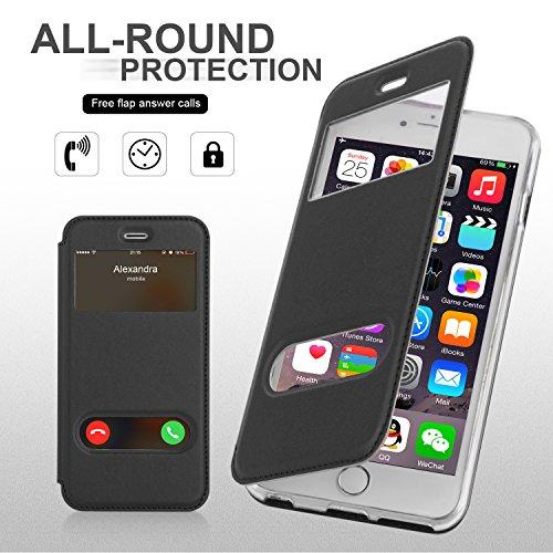 iPhone 6S Hülle,iPhone 6 Hülle,iPhone 6,Fyy® hochwertige umweltfreundliche KunstlederHülle (Tasche Schale Schutzhülle Case Cover Etui) Rosa Gold für Apple iPhone 6S/6 (4.7 Zoll) A-Schwarz