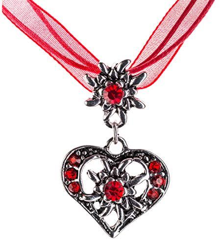 Trachtenkette elegantes Herz mit Strass und Edelweiss Anhänger Trachtenschmuck Kette für Dirndl und Lederhose Damen in vielen Farben (Rot)