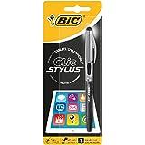 BIC Kugelschreiber Clic Stylus (0.32 mm, mit Touchpen-Funktion, sortierte Schaftfarben) Blister à 1 Stück, schwarz