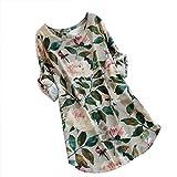 Feixiang Femmes Robe Robe Longue en Coton et Lin à Larges Bretelles Femmes Floral...