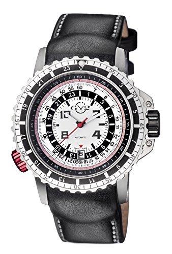GV2by Gevril contasecondi para hombre reloj automático negro correa de piel suizo, (modelo: 3500)