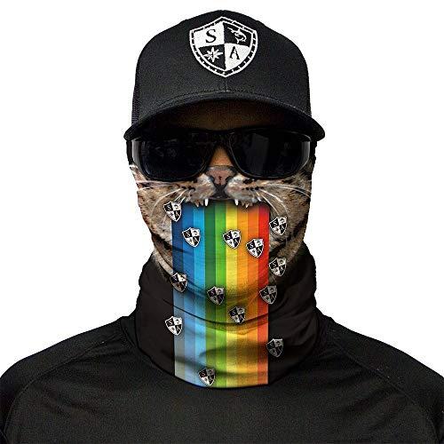 SA Fishing Face Shields ** 40+ Designs verfügbar ** Qualitäts Bandana / Multifunktionstuch / Schlauchtuch / Halstuch aus Stoff & SPF 40 - Face Masks von SA Company, Rainbow Cat