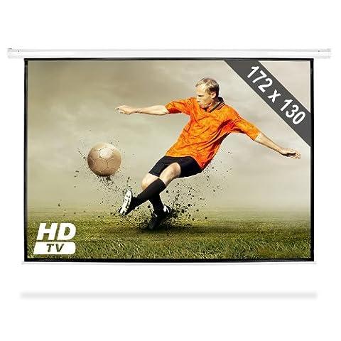 Frontstage - Ecran de projection déroulant pour vidéoprojecteur home cinema de qualité HD - toile de 172x130cm, diagonale de 218cm, format 4:3 - facteur de gain 1.0
