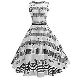 YWLINK Damen Knielang Rockabilly 1950er Vintage Cocktailkleid Rockabilly Retro Musikpartitur Drucken Schwingen Kleid Faltenrock ÄRmellos Hohe Taille Party Kleiden(XXL,C Weiß)