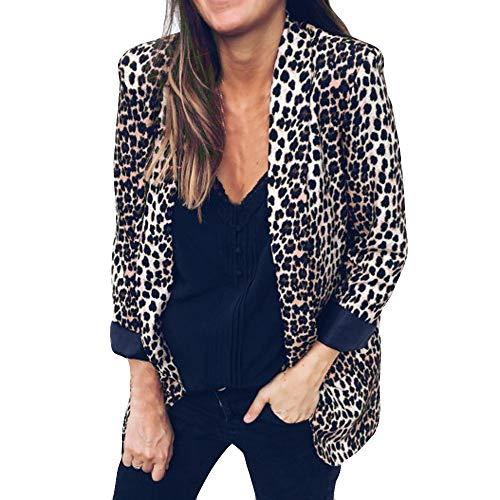 Bcfuda donna✿tailleur da donna giacche con stampa leopardata moda donna cappotti con risvolto tailleur donna completo eleganti (marrone,xl)
