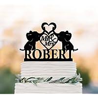 Personalizado Mr y Mrs de tarta para boda decoración para tarta para bebé elefantes Silueta con corazón decoración–decoración para tarta para acrílico