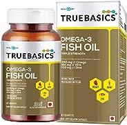 TrueBasics Omega-3 Fish Oil Triple Strength with 1250mg of Omega (560mg EPA & 400mg DHA) for Healthy Heart