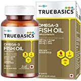 TrueBasics Omega-3 Fish Oil Triple Strength with 1250mg of Omega (560mg EPA & 400mg DHA) for Healthy Heart, Eye & Joints - 60 Softgels