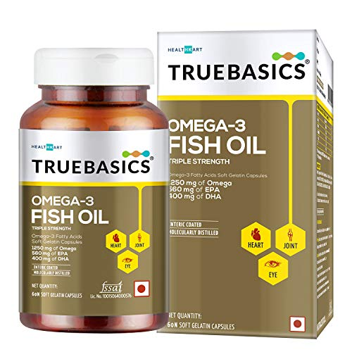 TrueBasics Omega-3 Fish Oil Triple Strength with 1250mg of Omega (560mg EPA & 400mg DHA) for Healthy Heart, Eye & Joints - 60 Softgels