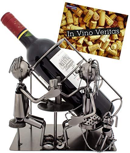 BRUBAKER Weinflaschenhalter Paar mit Hund - Flaschenständer aus Metall mit Grußkarte für...