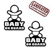 Skino 2 x STÜCK Vinyl Aufkleber Stickers AUTOAUFKLEBER Baby AN Bord Baby on Board Kind Sicherheit Auto Motorrad Fenster TÜR Fahrrad Fun Tuning B 164