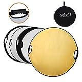 Selens 5-in-1 80cm Rund Fotografie Faltreflektor Set Tragebar Diffusor Gold, Silber, Weiß, Schwarz und Transparent Reflektor mit Griff