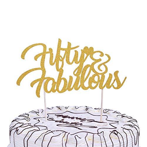 YUINYO 50 und fabelhafte Gold-Kuchenaufsatz - 50 & Fab Gold & Geburtstag Jahrestag Party Dekoration Ideen 90. Geburtstag Kuchen Topper Dekoration Bräutig&Party-Dekorationen Supplies Party Banner (Mädchen Für Geburtstag Kuchen-ideen)