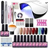 Saint-Acior Kit Vernis Gel Semi Permanent 36W LED/UV Lampe USB 10pc Vernis Machine à Ongle Soak Off UV Gel Base Coat Strass Décor Nail Limes Outils Manucure Nail Art
