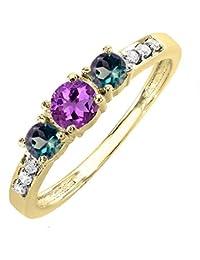 18K oro blanco y Amatista Redondo, Alejandrita diamante tres piedra anillo de compromiso 1/2CT