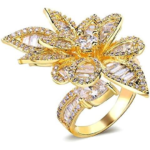 Anelli Di Fidanzamento Donna Placcato Oro Forma Cz Studded Leaf Da Aienid