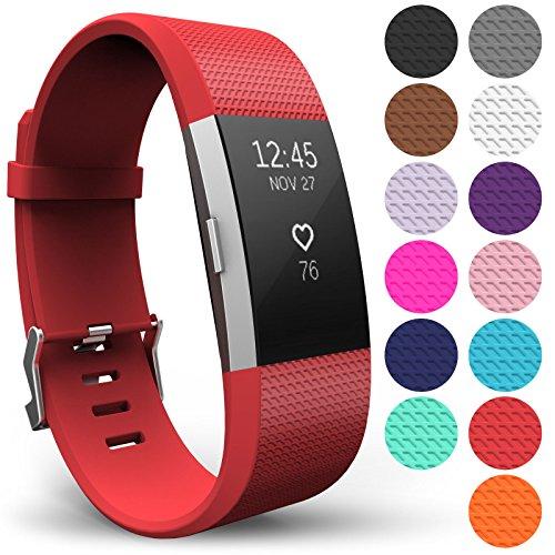Yousave Accessories® Armband für Fitbit Charge 2, Ersatz Fitness Armband und Uhrenarmband, Silikon Sportarmband und Fitnessband, Wristband Armbänder für Fitbit Charge2 - Groß, Rot