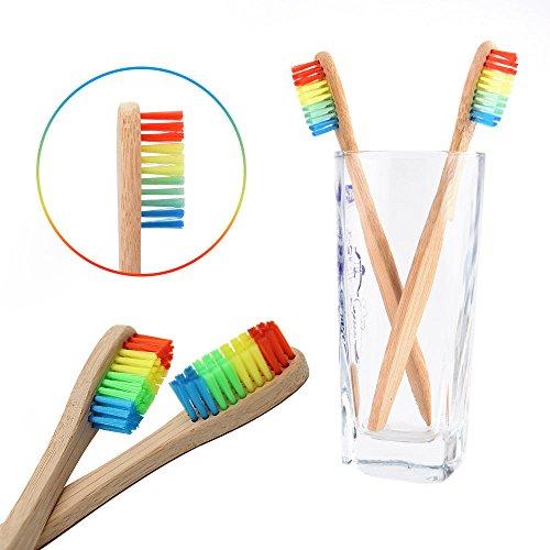 YA-Uzeun Zahnbürste, umweltfreundlich, Regenbogen-Bambus, weiche Faser, biologisch abbaubar (Modell Farbe Sealer)