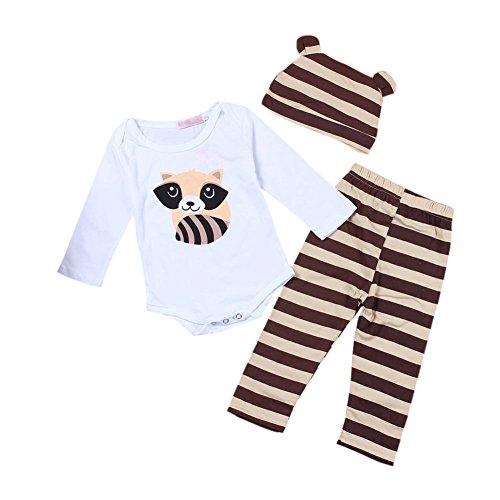 Meijunter Lange Ärmel Streifen Baumwolle Pyjama Set Hat Chlid Baby Kind Schlafanzüge Junge Mädchen 1-3 Jahre Braun Höhe 80cm - Streifen-pyjama-set