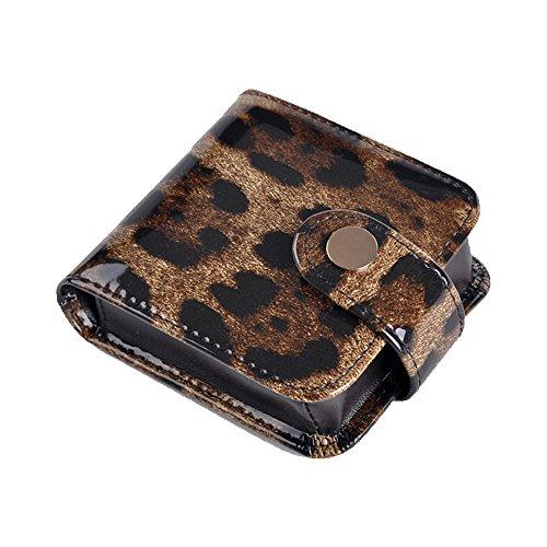 boshiho Kleine Make-up Bag mit Spiegel Kosmetik aus Leder Fall, Leopard - Größe: 9.0 * 7.8 * 2.5 cm (3.6 * 3.12 * 1 inch) -