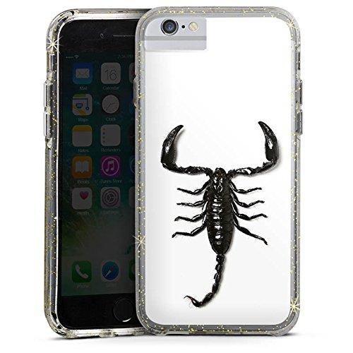 Apple iPhone 6 Bumper Hülle Bumper Case Glitzer Hülle Skorpion Scorpion Schwarz Bumper Case Glitzer gold