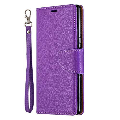 Nadoli für iPhone XR Leder Hülle,PU Lederhülle Flip Case Handytasche Brieftasche Magnetischen Standfunktion Schutzhülle für iPhone XR,Lila